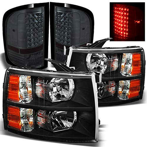 Xtune for 2007-2013 Chevy Silverado Black Headlights + Smoked LED Performance Tail Lights 2008 2009 2010 2011 2012 2013