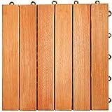 LuuNguyen Interlocking FSCCertified Eucalyptus/Antislip 6 Slat/Deck Tile/Natural Wood Finish, Box of 10 Tiles