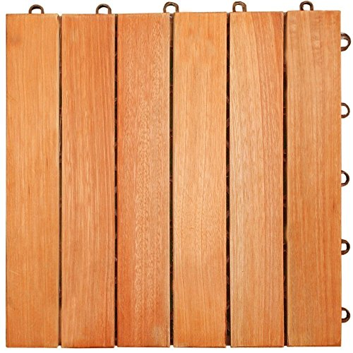 LuuNguyen Interlocking FSCCertified Eucalyptus/AntiSlip 6 Slat/Deck Tile/Natural Wood Finish, Box of 10 Tiles Review