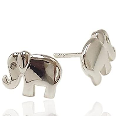 bcd88c1da65c5 925 Solid Sterling Silver Small CZ Eye Lucky Elephant Stud Earrings – Tiny  Animal Trunk Up Jewelry