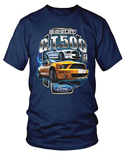 Amdesco Men's Ford Shelby Mustang GT500 T-Shirt, Navy Blue 2XL