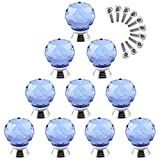 Goshfun 10Pcs Crystal Kitchen Cabinet Knobs Glass Furniture Cupboard Round Drawer Pull Handle - Blue