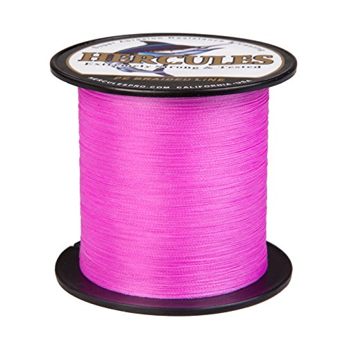 HERCULES Super Strong 300M 328 Yards Braided Fishing Line 20 LB Test for Saltwater Freshwater PE Braid Fish Lines 4 Strands - Pink, 20LB (9.1KG), 0.20MM (Neon Line Fishing)