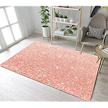 Lb rose gold area rug with glitter stars - Gold rug for living room ...