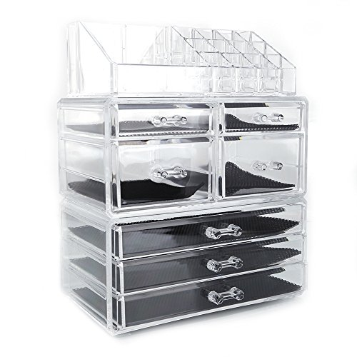 Cosmetic Jeweley Storage Box Acrylic Makeup Organizer with 7 MutiFunctional Display Drawers (White (Plastic)) (Jeweley Box)