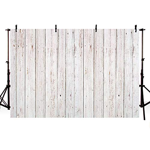 COMOPHOTO Wood Photography Backdrop White Wooden Board Photo Studio Background 7x5ft Photo Booth Photographic Props ()