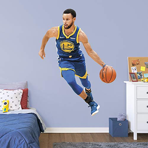 FATHEAD NBA Golden State Warriors Steph Curry Steph Curry- Officially Licensed Removable Wall Decal, Multicolor, - Sticker Fathead Wall