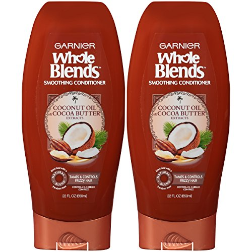 Garnier Hair Care Whole Blends Smoothing Conditioner with Coconut Oil & Cocoa Butter Extracts for Frizz, 2 Count