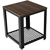 SONGMICS 2-tiered End Table Square-Frame Side Table with Metal Grate Shelf Black Walnut ULET41K