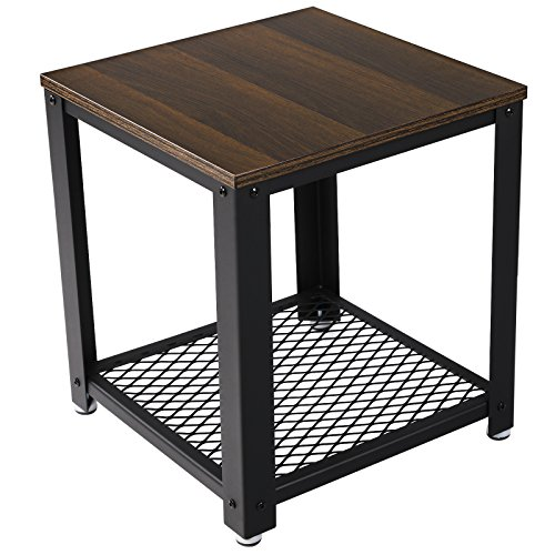 VASAGLE 2-Tier End Table Square-Frame Side Table with Metal