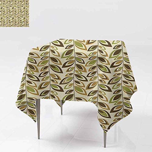 (SONGDAYONE Modern Square Tablecloth Leaves Abstract Vertical Leafy Branches Retro Revival Scroll Style Autumn Season Foliage Protection Table Multicolor W70 xL70)