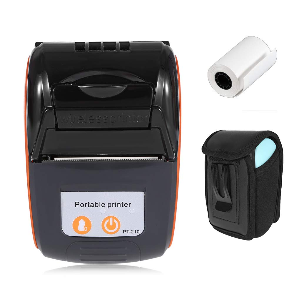 Mini Wireless Thermal Printer with Carry Case, MUNBYN Bluetooth 58mm Portable USB Receipt Ticket Printer POS Compatible with iOS, Android