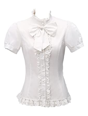 a8add81987e6dc Hugme White Standing Collar Short Sleeves Big Bow Lolita Blouse at ...