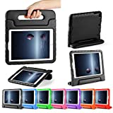 CAM-ULATA for New iPad Case 9.7 inch 2017 Apple Rugged Shockproof Kids proof iPad Air iPad Air 2 Case Cute with Stand Handle for Kids Girls Boys Black