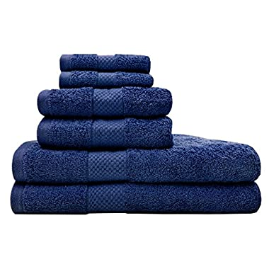 TreeWool, 6 Piece Luxury Bathroom Towel Set (Navy Blue) 600 GSM Supreme Soft 100% Cotton Ultra Absorbent Quick Drying Hotel Quality Bath Towels Set (2 Bath Towels, 2 Hand Towels and 2 Washcloths)