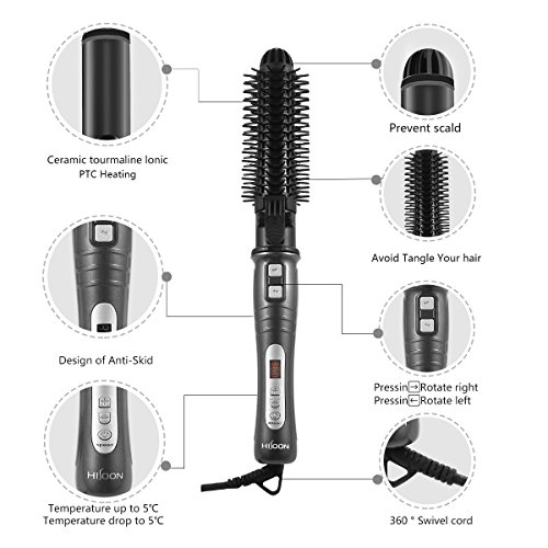HISOON Professional Curling Iron Brush, 1.25 inch Automatic Curling Iron 2 in 1 Dual Voltage Ceramic Tourmaline Hair Curler Hot Brush, Anti-Scald Instant Heat Up Curling Wands Black by HISOON (Image #4)