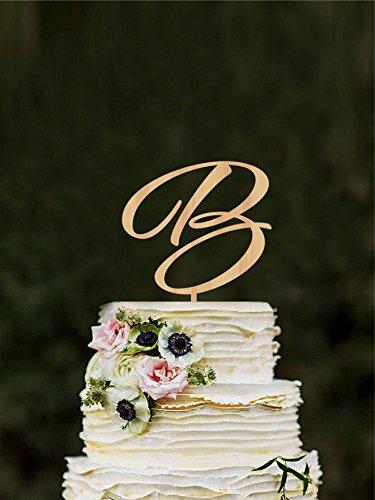 Letter B Wedding Cake Topper, Monogram Wedding Topper, Letter B Cake Topper, Wooden Initial Cake Topper, Cake Topper Letter B, Gold Initial