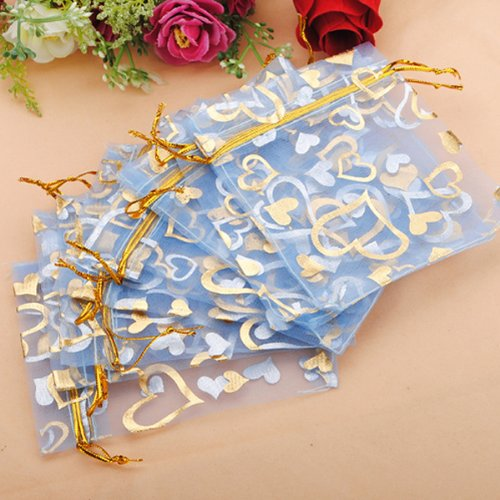 100pcs Blue Organza Jewelry Pouch Favor Gift Bag 9.5X11.5CM - Curves Bath Lighting