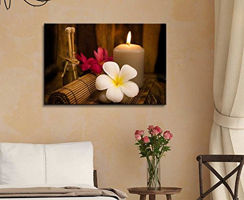 Relaxing Spa with Fresh Petunia Flowers and Essential Oils Wall Decor ation