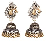 Sansar India Oxidized Dual Tone Peacock Stud Jhumka Jhumki Indian Earrings Jewelry for Girls and Women