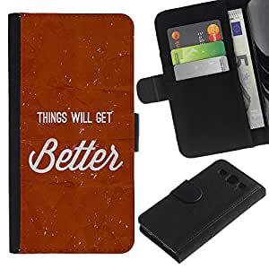 iBinBang / Flip Funda de Cuero Case Cover - Las cosas mejorarán texto rojo impresiones Inspiring - Samsung Galaxy S3 III I9300