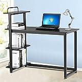 Yaheetech Wood Corner Computer Desk PC Laptop Table Workstation with 4 Tiers Shelves (Black) Yaheetech