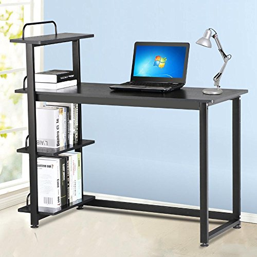 Yaheetech wood corner computer desk pc laptop table workstation with 4 tiers shelves black - Corner desks with shelves ...