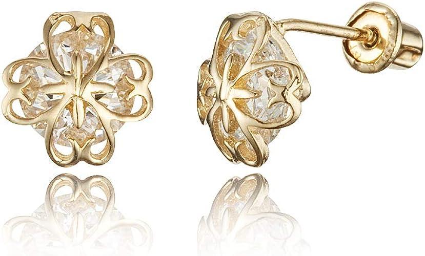 14k Yellow Gold Clover Flower Cubic Zirconia Children Screwback Baby Girls Earrings