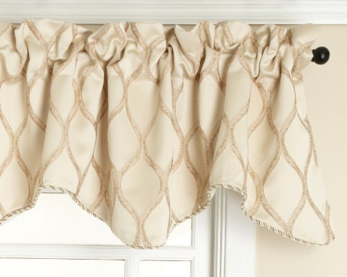 Renaissance Home Fashion Raven Embroidered Lined Scalloped Valance with Cording, Champagne, 50 by 17-Inch For Sale
