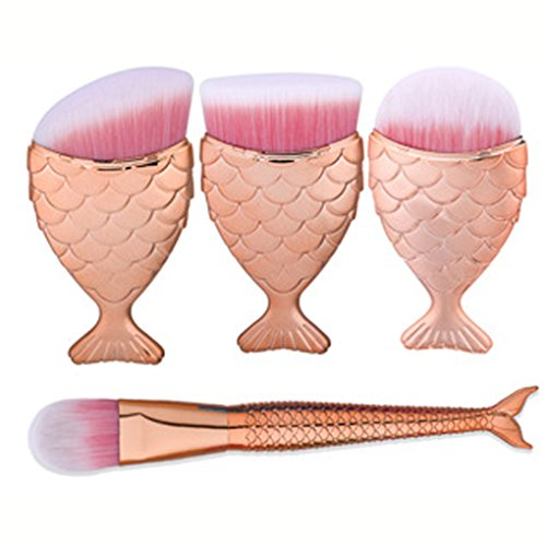 Makeup Brushes Set, LHEI Fish Scale Makeup Brush Fishtail Bottom Brush Powder Blush Makeup Cosmetic Brushes Tool (4pcs Rose Gold) -