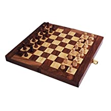 Valentines Day Gifts Wooden Rosewood Chess Set Travel Chess Board Game with Storage for Family and Kids