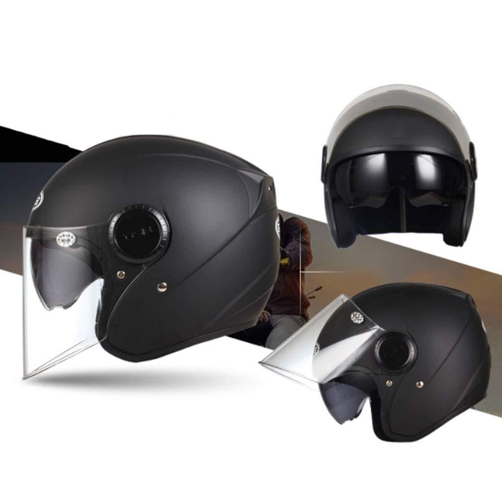 ダブルレンズオートバイヘルメット、電気自動車ハーフカバー、レトロオートバイ男性と女性の防曇ハーフヘルメット、四季ユニバーサルダブルレンズマスク、可変形状、ABS材料 (色 : 黒) 黒
