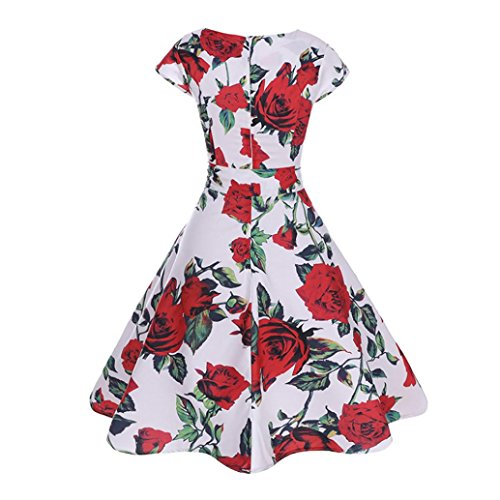 a aderente V Vestito a vintage scollo corte Rosso Abito abbigliamento Beikoard da a donna Donna donna con maniche Vestito Elegante maniche corte xf4O4B