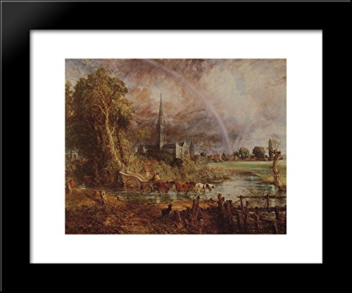 Salisbury Cathedral From the Meadows 20x24 Framed Art Print by John Constable (John Constable Salisbury Cathedral From The Meadows)