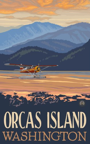 Northwest Art Mall Orcas Island Washington Float Plane Hills Unframed Poster Print by Paul A. Lanquist, 11-Inch by 17-Inch (Retro Color Washington)