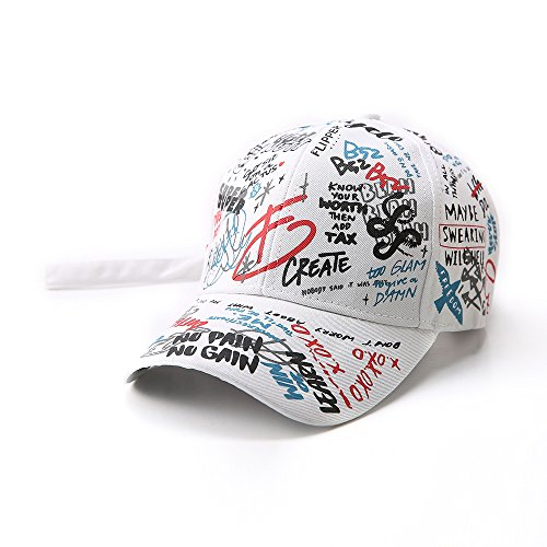 Graffiti Adjustable Baseball Cap,Unisex Hip Hop Snapback Hats for Men and Women White (Hats Hip Hop Women)