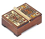 Queen King of Hearts Playing Card Box Lift Double Deck Polish Wood Card Box
