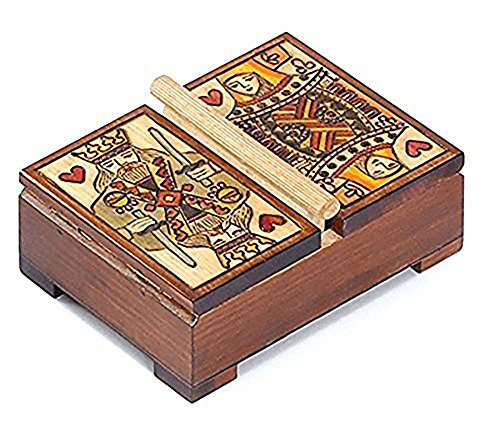 Queen King of Hearts Playing Card Box Lift Double Deck Polish Wood Card Box by PolishArt