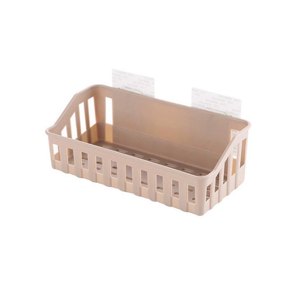 BESTOMZ Ventosa mensola da Parete Cesto plastica Doccia Caddy per Bagno Cucina, ABS, Marrone, 26,5 x 12 x 6 cm