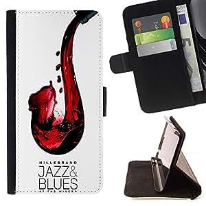 Momo Phone Case / Flip Funda de Cuero Case Cover - Jazz blues Vino Tinto Saxofón Arte - HTC DESIRE 816