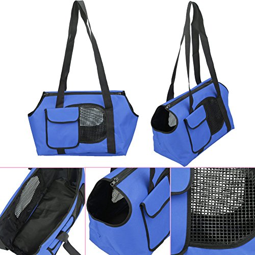 Jocestyle Pet Carriers Breathable Shoulder Handbag Tote Cat Dog Travel Bag (S, Blue)