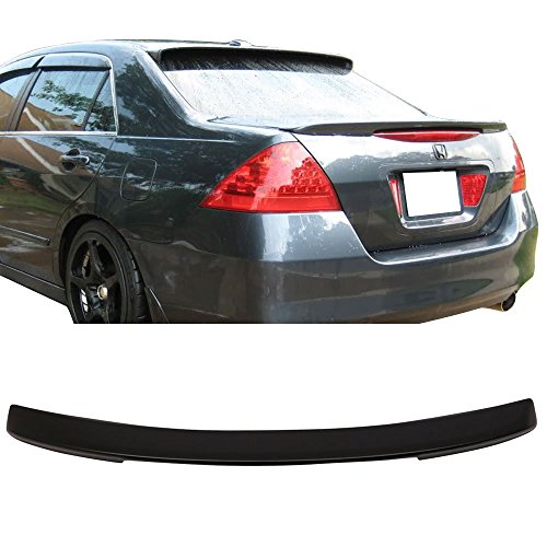 Trunk Spoiler Fits 2006-2007 Honda Accord | OE Style Unpainted Black ABS Added On Rear Deck Lip Wing Bodykits by IKON MOTORSPORTS