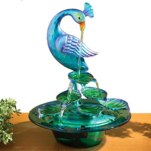 Bits and Pieces - Indoor/Outdoor Glass Peacock Fountain - Wh