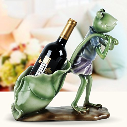 RYYAIYL Decorative Drinking Frog Wine Bottle Holder Sculpture in Figurines and Statues As Bar Or Tabletop Wine Racks & Stands Or Whimsical Gifts for Wine Lovers/12.2x5.1x12.2inches ()