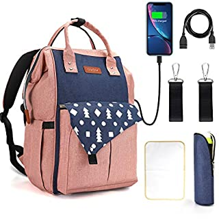GVDV Diaper Bag Backpack- Multifunctional Large Baby Bag with Stroller Straps, Changing Mat, USB Charging Port, 4 Insulated Pockets for Bottles, Waterproof and Stylish for Mom
