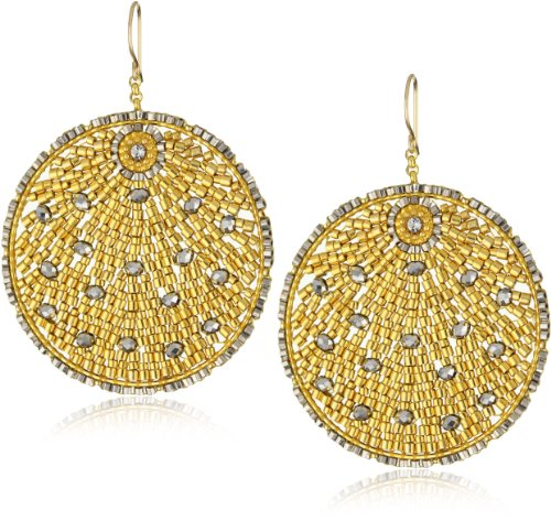 Miguel Ases Pyrite Quartz and Swarovski Gold Beaded Round Earrings - Miguel Ases Beaded Earrings