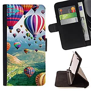 DEVIL CASE - FOR Apple Iphone 5C - Balloon Hot Air Flying Nature Sky - Style PU Leather Case Wallet Flip Stand Flap Closure Cover