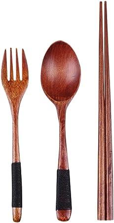 BESTONZON Juego de Cubiertos de Madera con Bolsa para Acampar Viajes Picnic Oficina Uso en Hogar 3 Piezas (Tenedor Cuchara Palillos): Amazon.es: Hogar