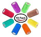 4 inch Vet Wrap Tape Bulk, FDA Approved, Dog Cat Pet Horse Self Adhesive Flex Bandage Rap Grip Roll, Assorted Colors 6, 12, 18, or 24 Packs