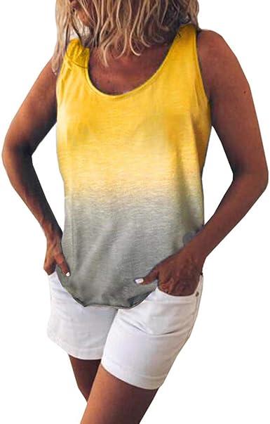 Kunfang Camiseta de Las Mujeres Camisetas sin Mangas de Verano ...